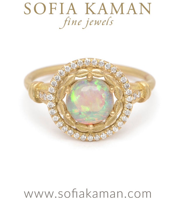18K Matte Gold Australian Opal Diamond Halo One of a Kind Engagement Ring designed by Sofia Kaman handmade in Los Angeles using our SKFJ ethical jewelry process. This piece has been sold and is in the SK Archive.
