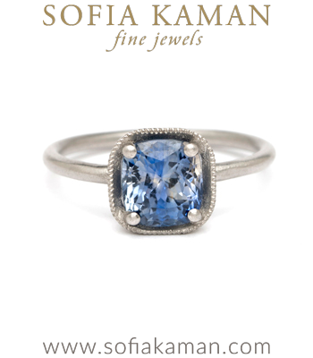 Platinum Cushion Cut Bi-Color Blue Sapphire Boho Engagement Ring designed by Sofia Kaman handmade in Los Angeles