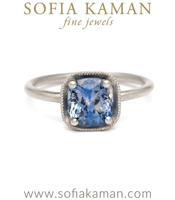 Platinum Cushion Cut Bi-Color Blue Sapphire Boho Engagement Ring designed by Sofia Kaman handmade in Los Angeles using our SKFJ ethical jewelry process. This piece has been sold and is in the SK Archive.