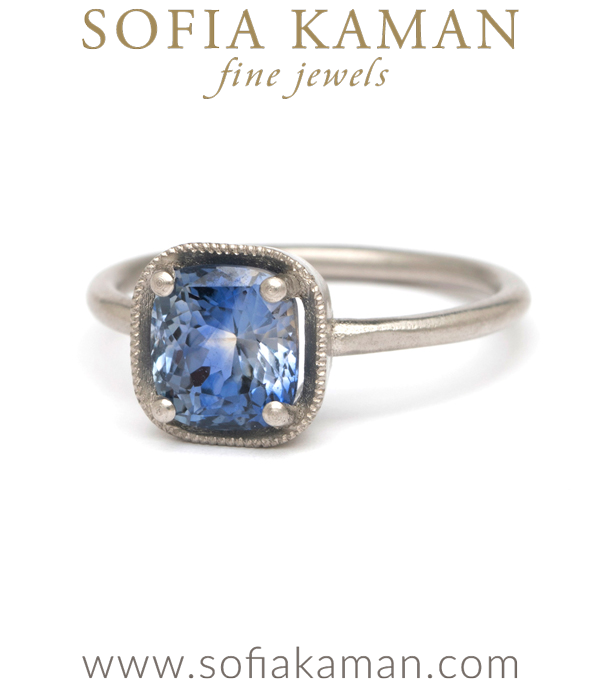 Platinum Cushion Cut Bi-Color Blue Sapphire Boho Engagement Ring made in Los Angeles