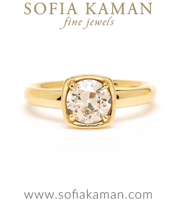 Champagne Diamond Rose Gold Engagement Ring designed by Sofia Kaman handmade in Los Angeles