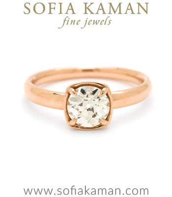 Solitaire 18K Rose Gold Simple Diamond Unique Engagement Ring designed by Sofia Kaman handmade in Los Angeles