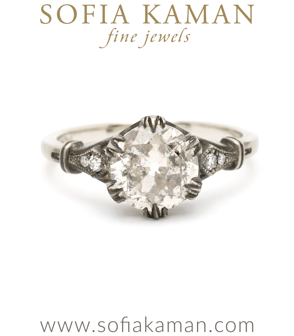 Rococo Revival Salt And Pepper Diamond Enement Ring
