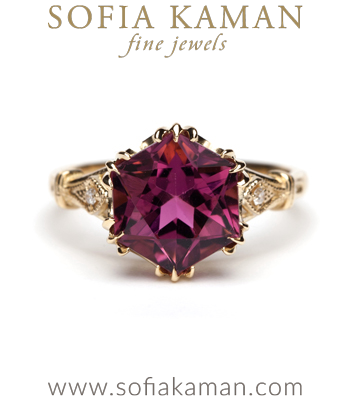 Gold Engagement Rings Red Tourmaline Hexagon Bohemian Engagement Ring designed by Sofia Kaman handmade in Los Angeles