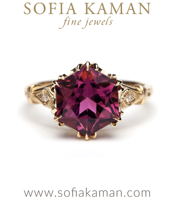Vintage Inspired Hexagon Tourmaline Solitaire Diamond Accented Engagement Ring