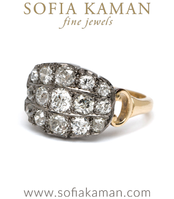 Antique Inspired 3 Row Old Mine Cut Diamond Bohemian Engagement Ring designed by Sofia Kaman handmade in Los Angeles