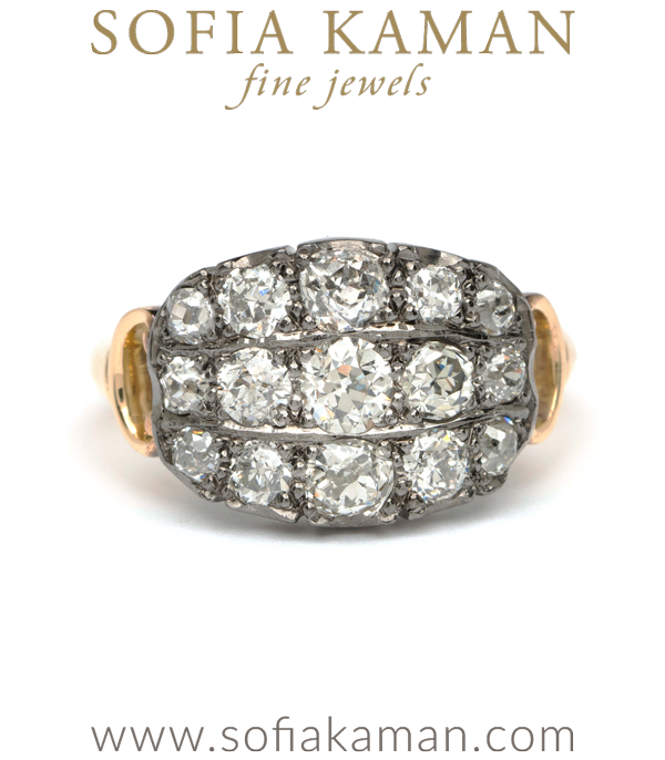 Antique Inspired 3 Diamond Row Boho Engagement Ring