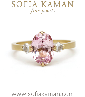 18K Matte Gold Pink Orange Sapphire Modern Sophisticated Unique Engagement Ring made in Los Angeles
