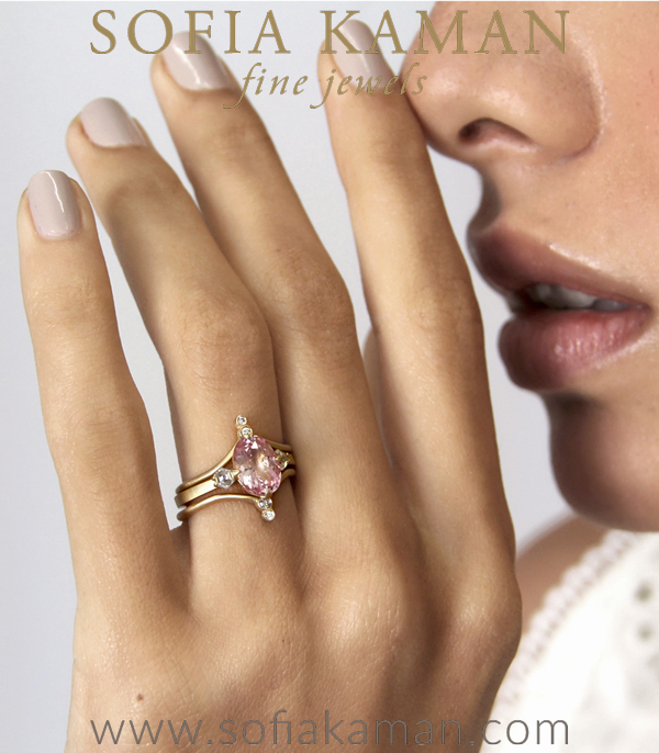 Pink Orange Sapphire Unique Modern Sophisticated Engagement Ring Shown