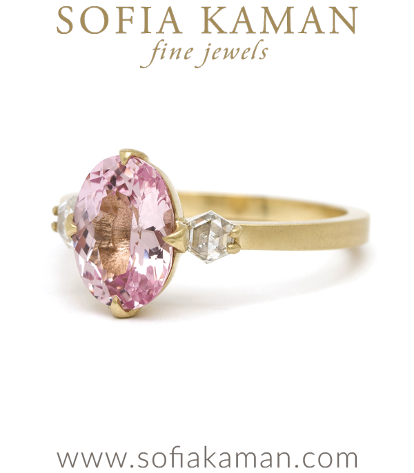 Pink Orange Sapphire Unique Modern Sophisticated Engagement Ring