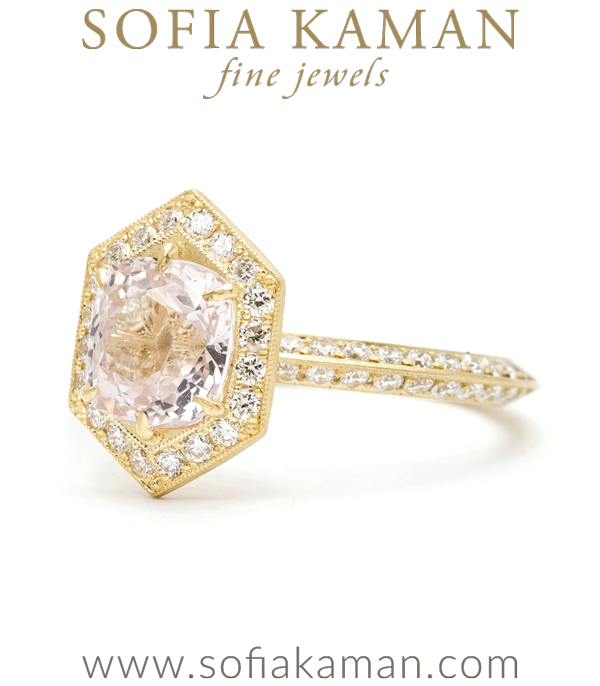 Gold Hexagon Diamon Halo Knife Edge Pink Sapphire Engagement Ring
