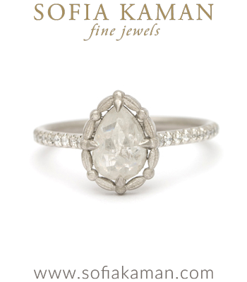 Platinum Rose Cut Pear Shape Diamond Pave Band Engagement Ring designed by Sofia Kaman handmade in Los Angeles