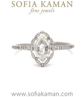 Handmade Halo Platinum Rose Cut Diamond Ring designed by Sofia Kaman handmade in Los Angeles