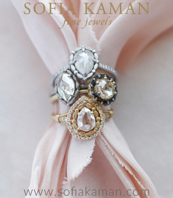 Leafy Halo Solitaire Marquis Rose Cut Stacked Shown