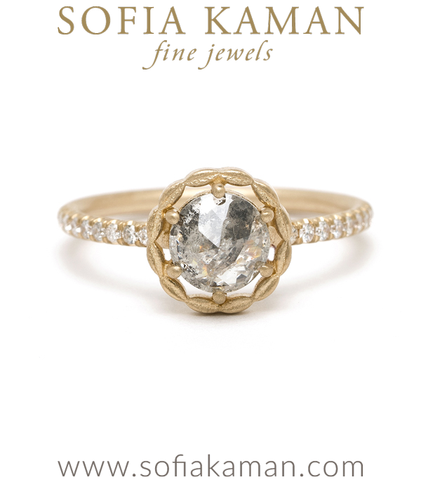 14K Matte Yellow Gold Halo Rose Cut Salt and Pepper Diamond Pave Band Boho Engagement Ring designed by Sofia Kaman handmade in Los Angeles using our SKFJ ethical jewelry process. This piece has been sold and is in the SK Archive.