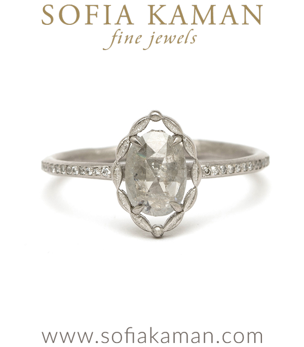 Natural Beauty Bohemian Platinum Marquise Shape Salt and Pepper Diamond Halo Engagement Ring designed by Sofia Kaman handmade in Los Angeles using our SKFJ ethical jewelry process.