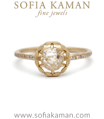 Gold Handmade Halo Rose Cut Diamond Ring designed by Sofia Kaman handmade in Los Angeles