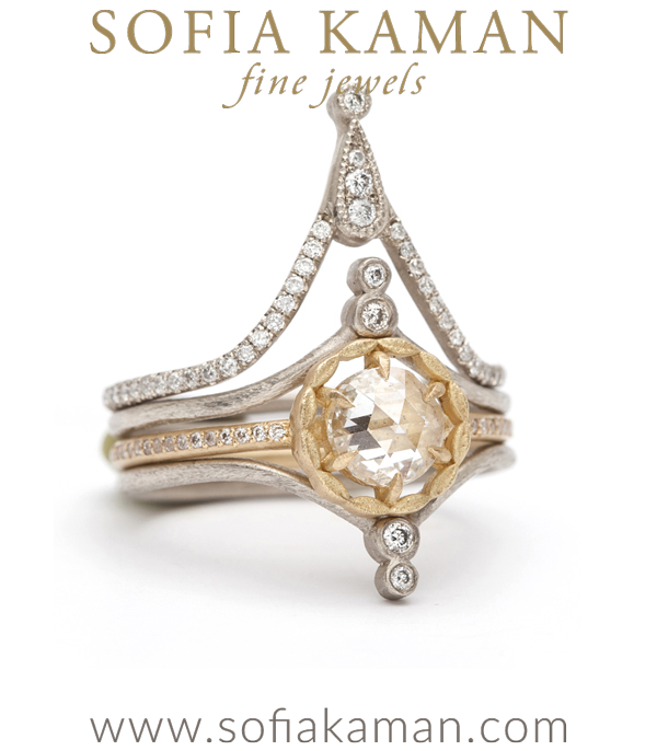 Leafy Halo Solitaire Round Rose Cut Stacked