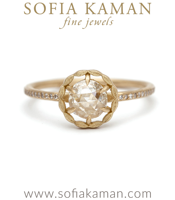 Gold Handmade Halo Rose Cut Diamond Ring designed by Sofia Kaman handmade in Los Angeles using our SKFJ ethical jewelry process. This piece has been sold and is in the SK Archive.