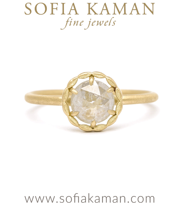 18K Gold Leafy Halo Rose Cut Rustic Salt and Pepper Diamond One of a Kind Boho Engagement Ring designed by Sofia Kaman handmade in Los Angeles using our SKFJ ethical jewelry process. This piece has been sold and is in the SK Archive.