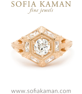 Gold Engagement Rings Art Deco Inspired Old European Cut Diamond Center French Cut Diamond Accent Stones Boho Engagement Ring designed by Sofia Kaman handmade in Los Angeles
