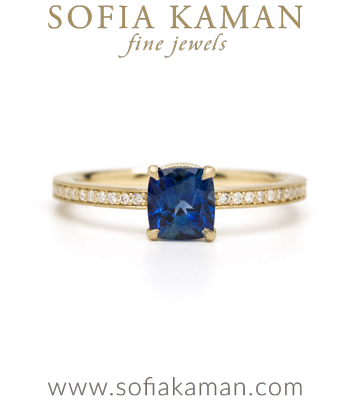 Gold Engagement Rings Gold Diamond Pave Blue Sapphire Solitaire Boho Engagement Ring designed by Sofia Kaman handmade in Los Angeles