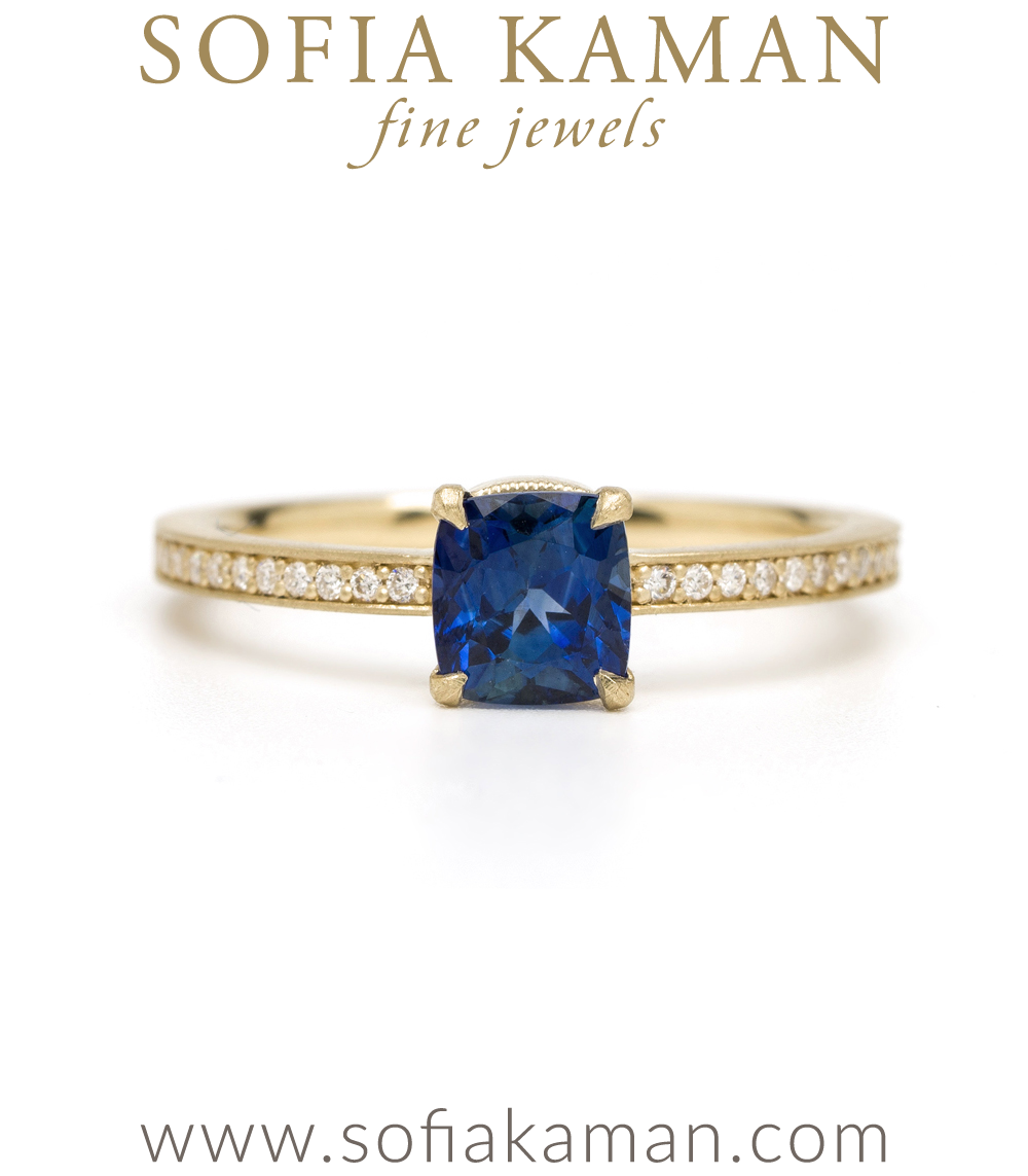 One Of A Kind Engagement Rings Simple Solitaire With Sapphire Square Band