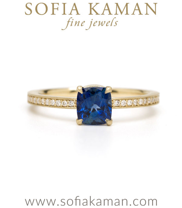 Gold Diamond Pave Blue Sapphire Solitaire Boho Engagement Ring designed by Sofia Kaman handmade in Los Angeles using our SKFJ ethical jewelry process.