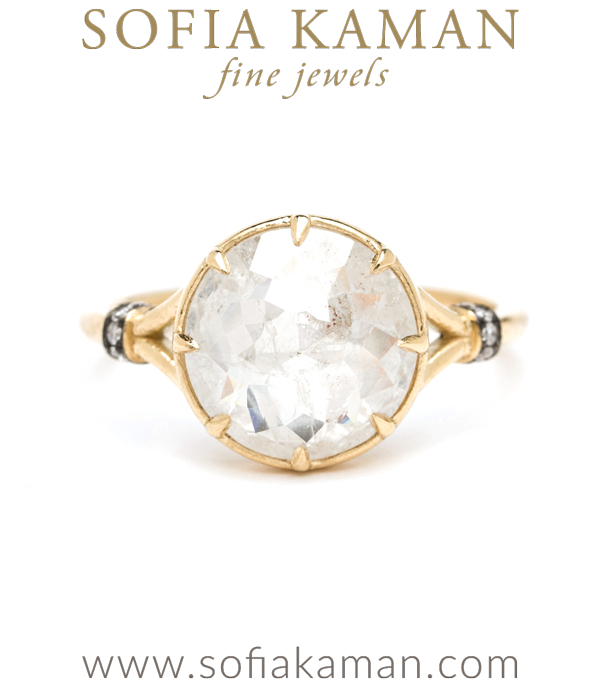 14K Shiny Yellow Gold Rose Cut Salt and Pepper Diamond Engagement Ring designed by Sofia Kaman handmade in Los Angeles using our SKFJ ethical jewelry process. This piece has been sold and is in the SK Archive.