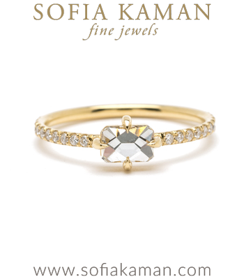 18K Gold French Cut Diamond Boho One of a Kind Ethical Engagement Ring designed by Sofia Kaman handmade in Los Angeles