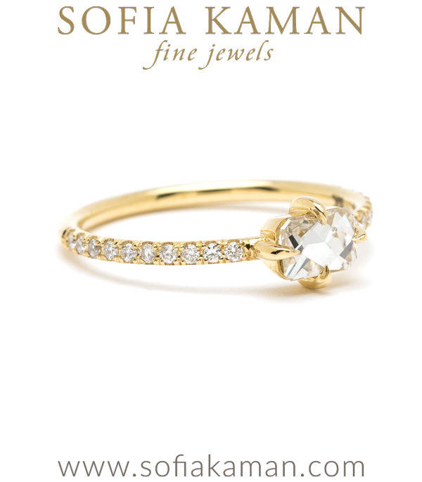 French Cut Diamond Boho Engagement Ring