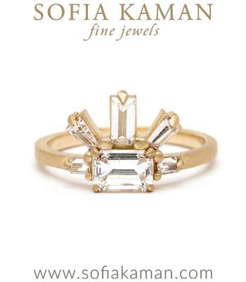 18K Matte Yellow Gold One of a Kind Emerald Cut Diamond Engagement Ring designed by Sofia Kaman handmade in Los Angeles