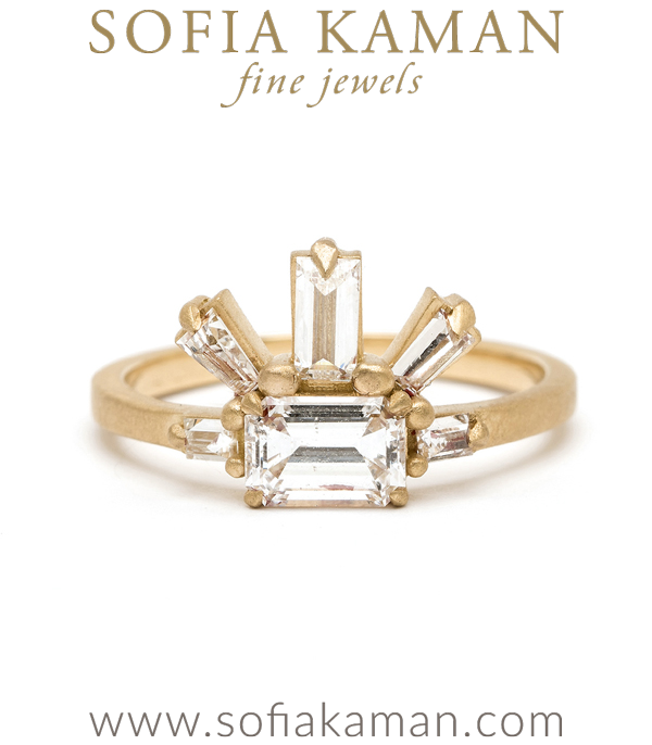 18K Matte Yellow Gold One of a Kind Emerald Cut Diamond Engagement Ring designed by Sofia Kaman handmade in Los Angeles using our SKFJ ethical jewelry process.