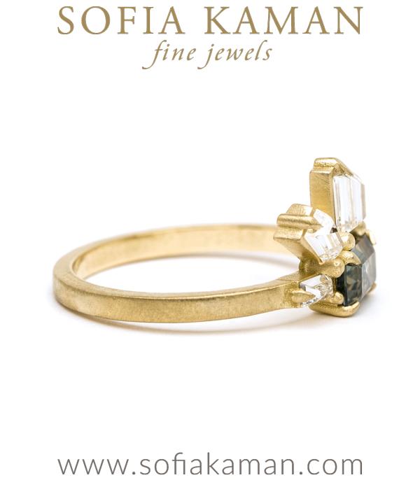 Matte Gold Blue Sapphire Bohemian Engagement Ring