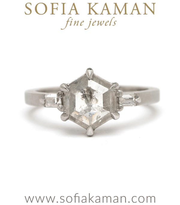 Platinum Salt and Pepper Hexagon Diamond Unique Engagement for the Not Traditional Bride designed by Sofia Kaman handmade in Los Angeles using our SKFJ ethical jewelry process.