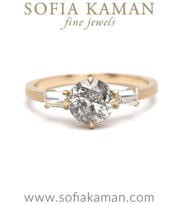 Stardust Salt and Pepper Diamond Engagement Ring designed by Sofia Kaman handmade in Los Angeles