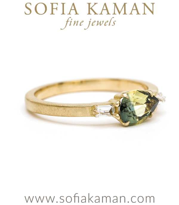Matte Gold One Of A Kind Engagement Ring By Sofia Kaman