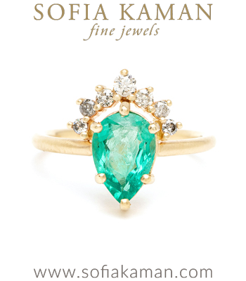 Boho Engagement Rings Pear Shape Emerald One of a Kind Engagement Ring designed by Sofia Kaman handmade in Los Angeles