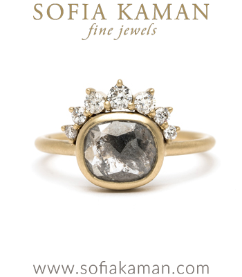 This Rose Cut Salt and Pepper Diamond Boho Style Engagement Ring is a beautiful example of our Unique Engagement Rings designed by Sofia Kaman handmade in Los Angeles