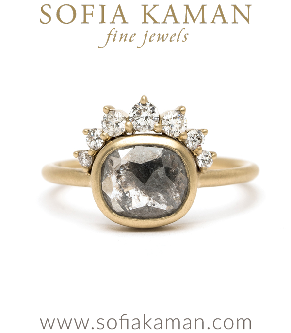 This Rose Cut Salt and Pepper Diamond Boho Style Engagement Ring is a beautiful example of our Unique Engagement Rings designed by Sofia Kaman handmade in Los Angeles using our SKFJ ethical jewelry process.