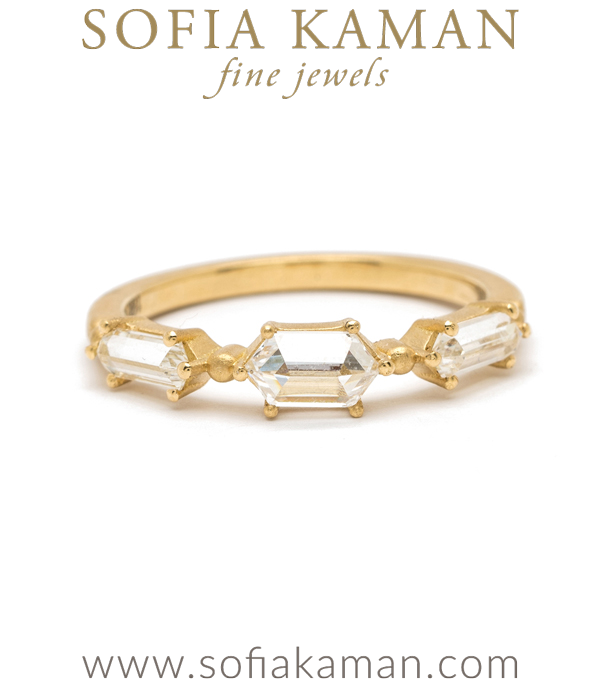 18K Rose Matte Gold 3 Hexagon Diamond Stacking Ring Bohemian Wedding Band Ethical Engagement Ring designed by Sofia Kaman handmade in Los Angeles using our SKFJ ethical jewelry process.