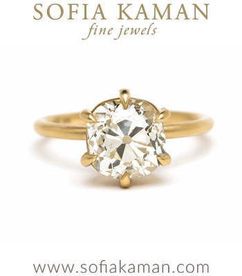 18K Matte Yellow Gold Ethically Sourced Old Mine Cut Diamond Solitaire designed by Sofia Kaman handmade in Los Angeles