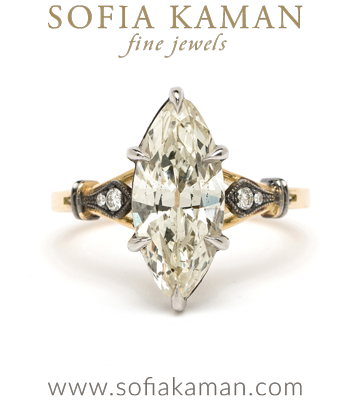 Gold and Platinum Marquise Diamond One of a Kind Engagement Ring designed by Sofia Kaman handmade in Los Angeles