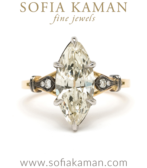 Gold and Platinum Marquise Diamond One of a Kind Engagement Ring designed by Sofia Kaman handmade in Los Angeles using our SKFJ ethical jewelry process.