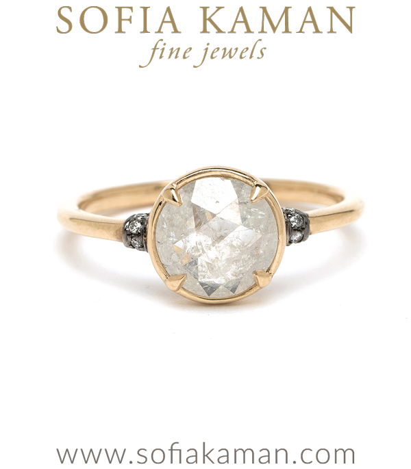 14K Shiny Yellow Gold Natural Beauty Bohemian Rose Cut Salt and Pepper Diamond Engagement Ring designed by Sofia Kaman handmade in Los Angeles using our SKFJ ethical jewelry process.
