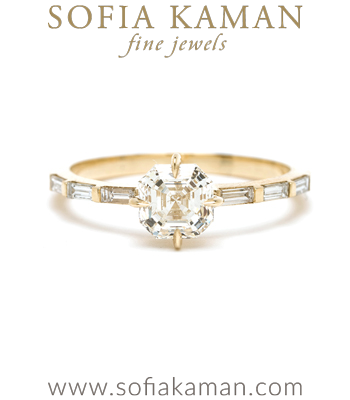 14K Shiny Yellow Gold One of a Kind Asscher Cut Diamond Engagement Ring with Baguette Diamond Band designed by Sofia Kaman handmade in Los Angeles