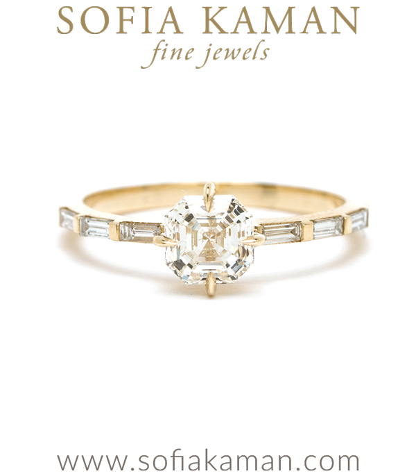 14K Shiny Yellow Gold One of a Kind Asscher Cut Diamond Engagement Ring with Baguette Diamond Band designed by Sofia Kaman handmade in Los Angeles using our SKFJ ethical jewelry process.