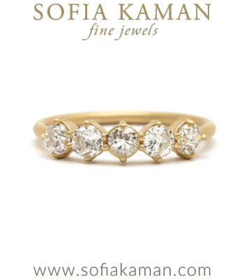 14K Gold 5 Diamond Wedding Band for Engagement Rings designed by Sofia Kaman handmade in Los Angeles