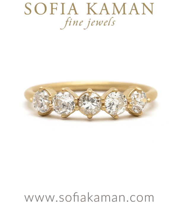 14K Gold 5 Diamond Wedding Band for Engagement Rings designed by Sofia Kaman handmade in Los Angeles using our SKFJ ethical jewelry process.