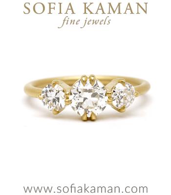 Petite Old European Cut Diamond 3 Stone Engagement Ring designed by Sofia Kaman handmade in Los Angeles